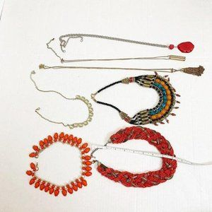 Lot of 7 Fashion Necklaces Coral Color Long Ornate